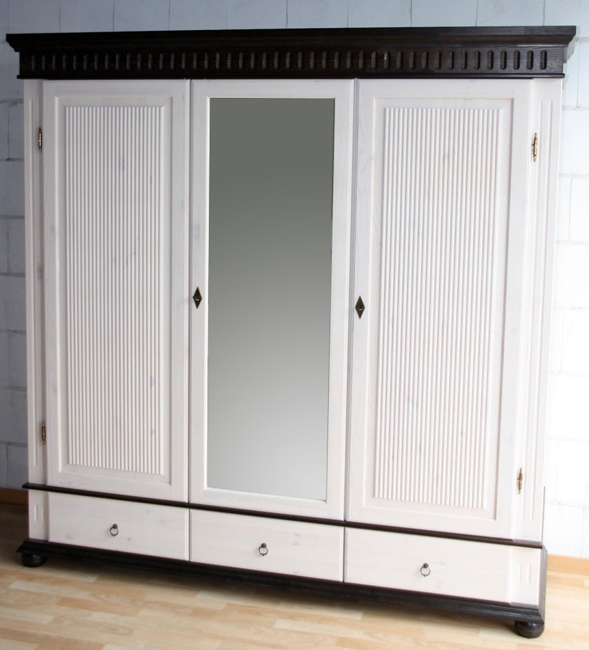 kleiderschrank 3 t rig xl wei kolonial mit spiegel kiefer massiv poarta. Black Bedroom Furniture Sets. Home Design Ideas