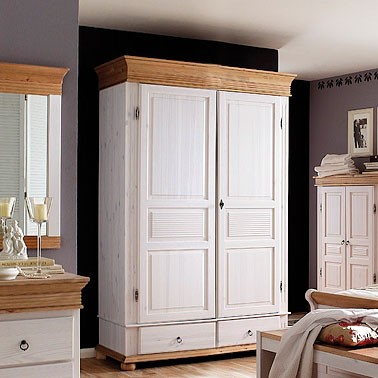kleiderschrank 2 t rig dielenschrank kiefer massiv wei antik. Black Bedroom Furniture Sets. Home Design Ideas