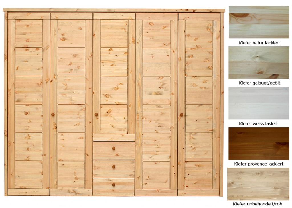 massivholz kleiderschrank 5t rig schlafzimmerschrank 3 schubladen kiefer. Black Bedroom Furniture Sets. Home Design Ideas