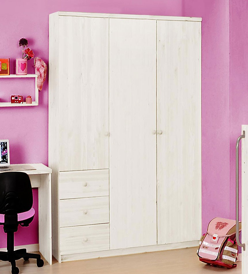 kleiderschrank wei lackiert kinderzimmerschrank 3t rig kiefer massiv. Black Bedroom Furniture Sets. Home Design Ideas
