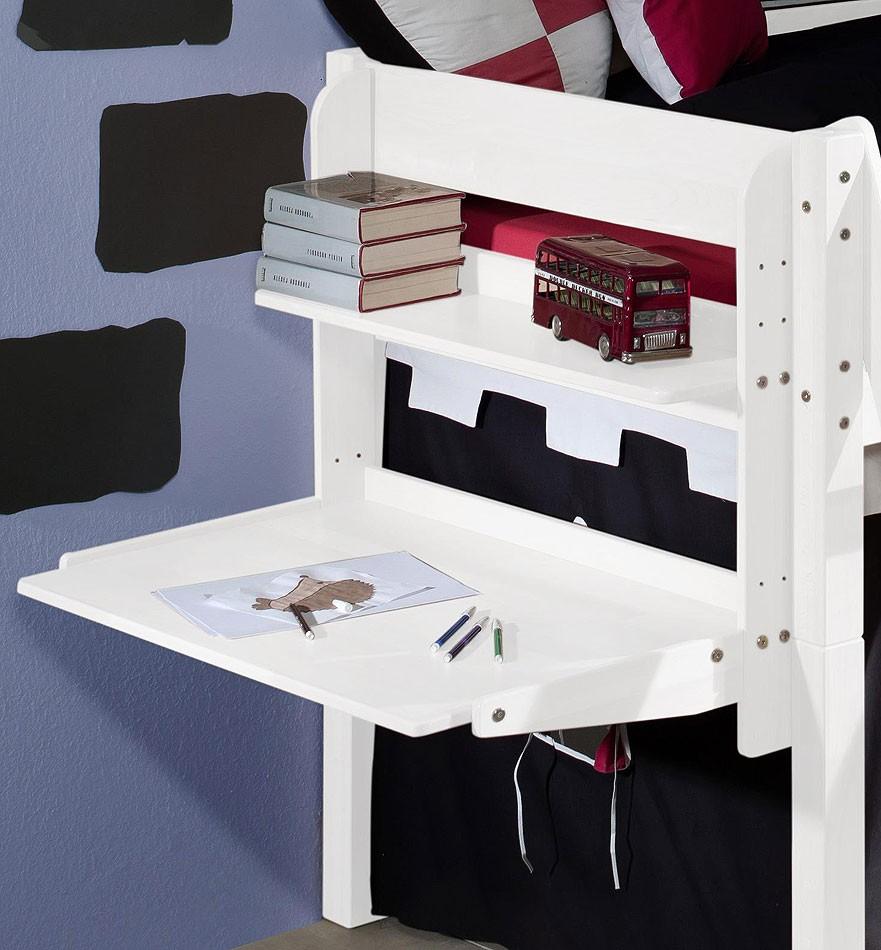 massivholz h ngeschreibtisch mit ablage buche massiv wei lackiert. Black Bedroom Furniture Sets. Home Design Ideas