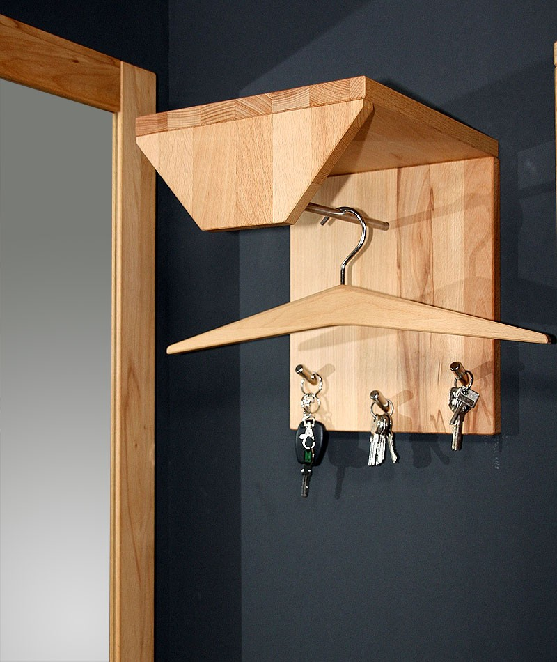 massivholz garderobe klein hutablage kleiderstange kernbuche ge lt. Black Bedroom Furniture Sets. Home Design Ideas