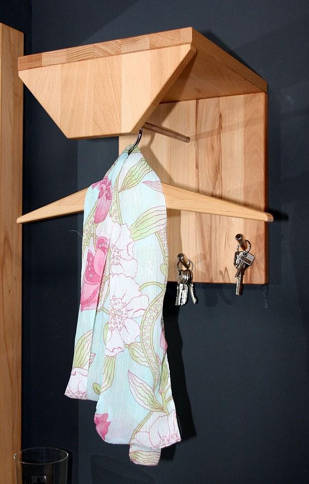 massivholz garderobe klein hutablage kleiderstange. Black Bedroom Furniture Sets. Home Design Ideas