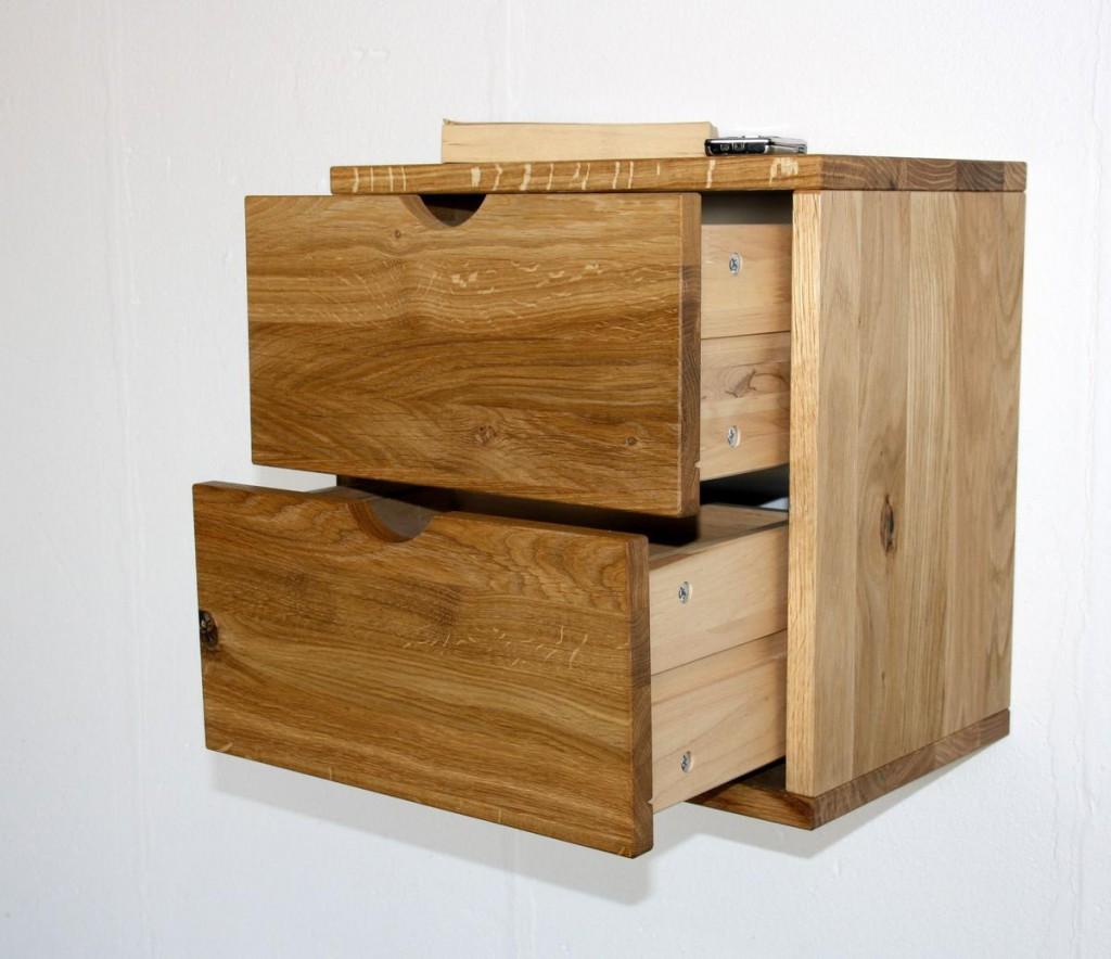 massivholz h ngekasten mit 2 schubladen wandregal wildeiche ge lt gewachst. Black Bedroom Furniture Sets. Home Design Ideas