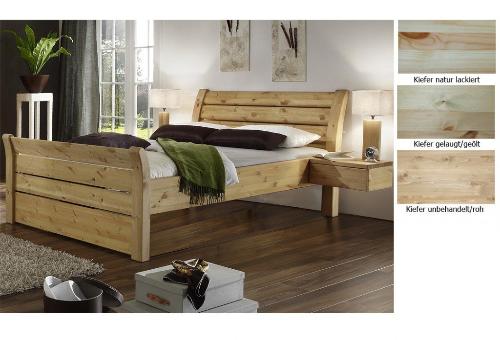 bett kiefer massiv natur lackiert verschiedene ideen f r die raumgestaltung. Black Bedroom Furniture Sets. Home Design Ideas