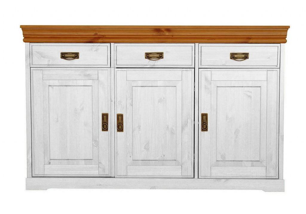 massivholz anrichte sideboard kiefer massiv wei honig. Black Bedroom Furniture Sets. Home Design Ideas