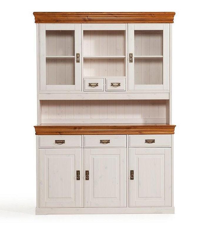 massivholz buffetschrank anrichte mit aufsatz kiefer massiv wei honig. Black Bedroom Furniture Sets. Home Design Ideas