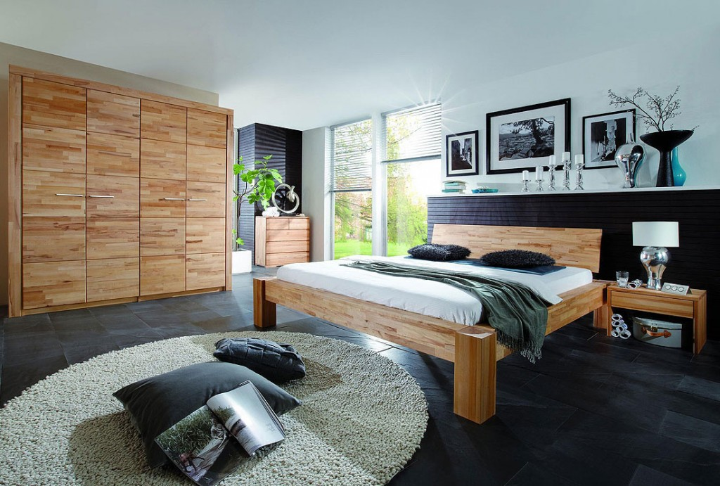 Massivholz balkenbett holzbett doppelbett buche massiv holz 180x200 ge lt - Schlafzimmer holz massiv ...