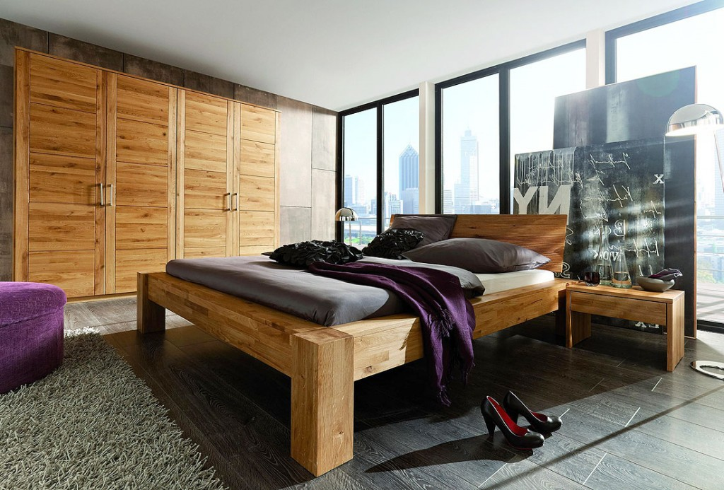 massivholz balkenbett 160x200 unikat holzbett wildeiche. Black Bedroom Furniture Sets. Home Design Ideas