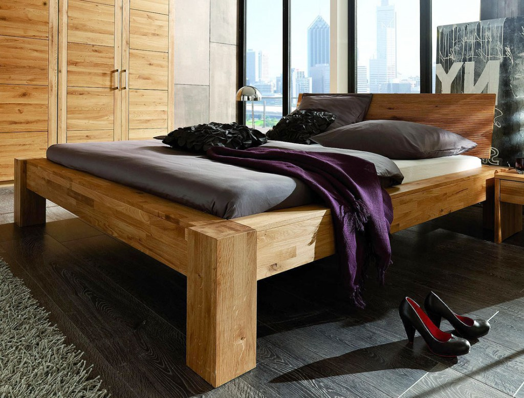massivholz balkenbett 160x200 unikat holzbett wildeiche massiv holz ge lt. Black Bedroom Furniture Sets. Home Design Ideas
