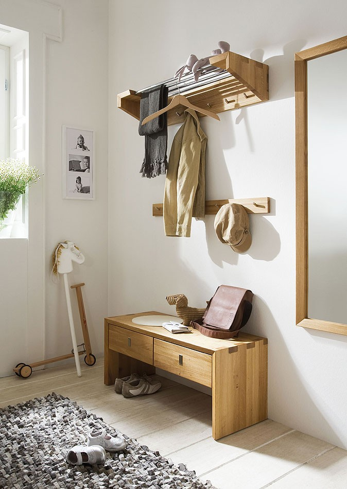 massivholz garderobe hutablage wandgarderobe wildeiche massiv holz 92cm. Black Bedroom Furniture Sets. Home Design Ideas