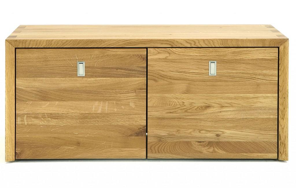 massivholz sitzbank holzbank mit 2 rollcontainer wildeiche. Black Bedroom Furniture Sets. Home Design Ideas