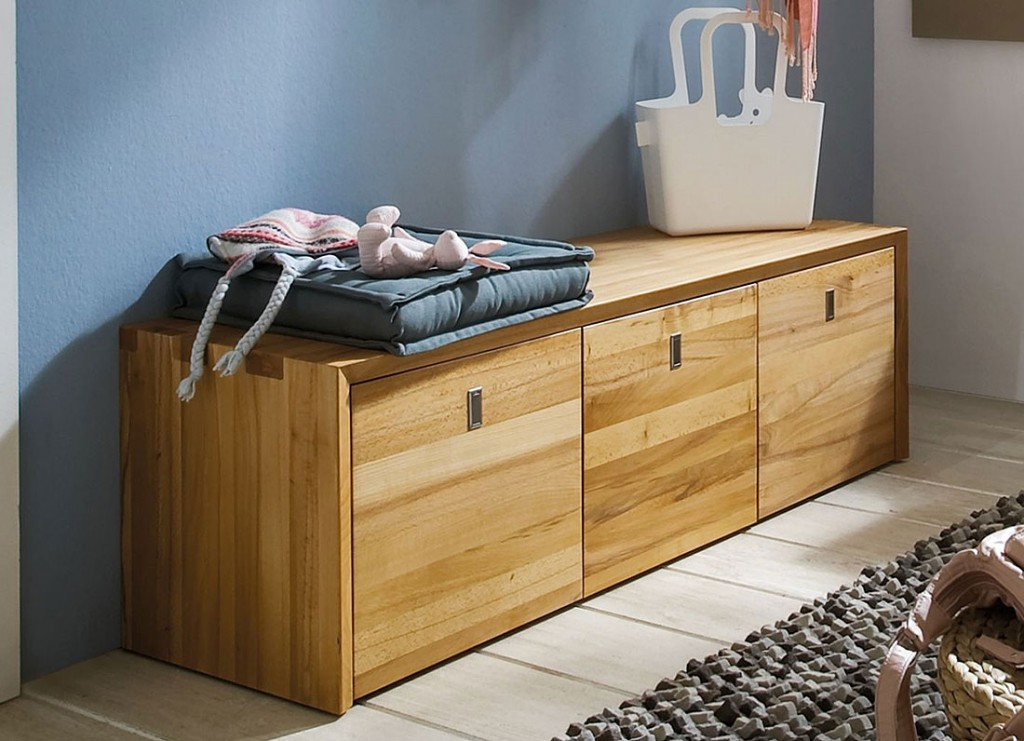 massivholz sitzbank mit 3 rollcontainern holzbank kernbuche massiv holz. Black Bedroom Furniture Sets. Home Design Ideas