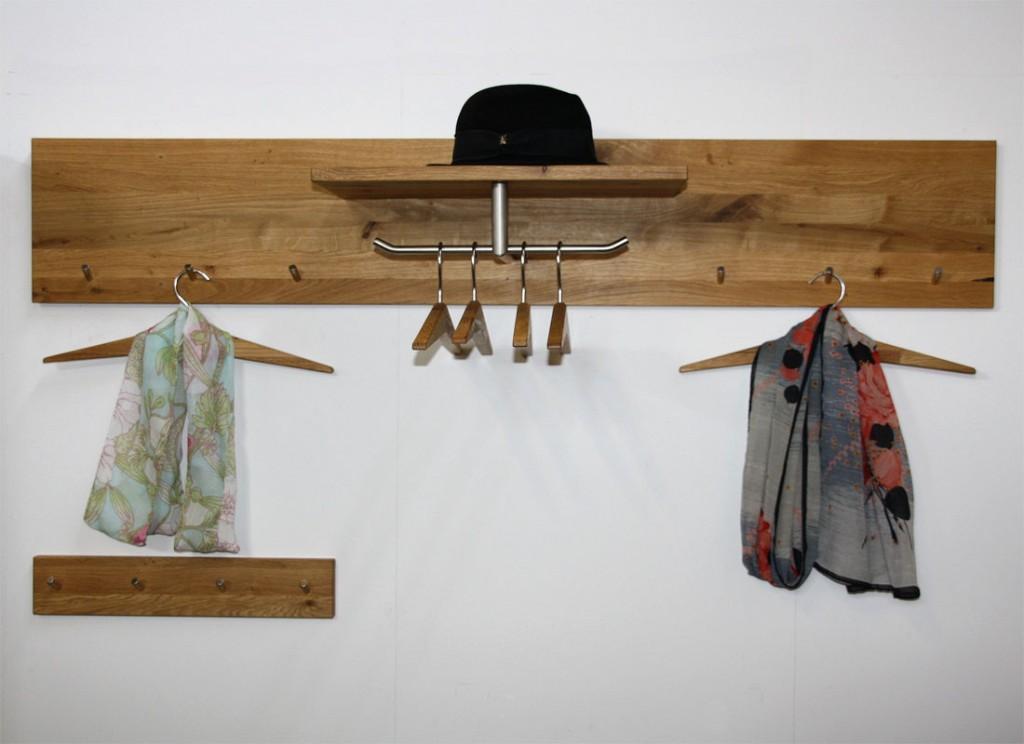 Massivholz garderoben set kleiderb gel wildeiche massiv for Garderobe hutablage