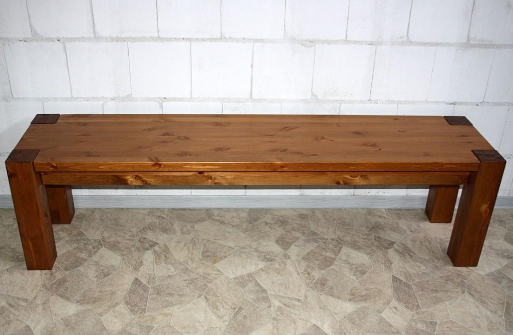 Massivholz Sitzbank 140cm Bank Küchenbank Holzbank Kiefer weiß honig