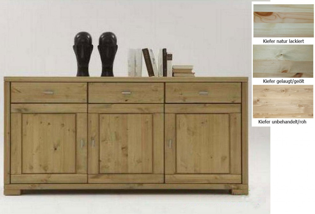 massivholz kommode 3t rig gelaugt ge lt sideboard anrichte kiefer holz. Black Bedroom Furniture Sets. Home Design Ideas