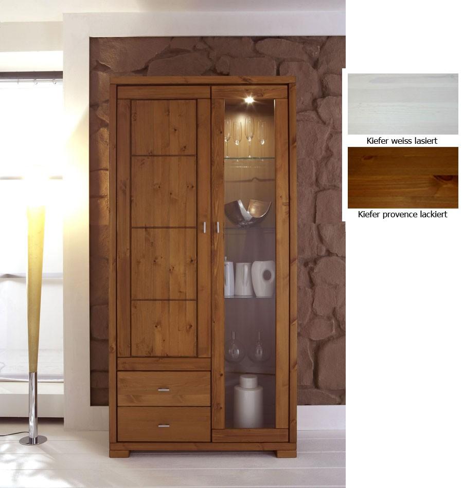 massivholz vitrine vitrinenschrank hochschrank kiefer. Black Bedroom Furniture Sets. Home Design Ideas