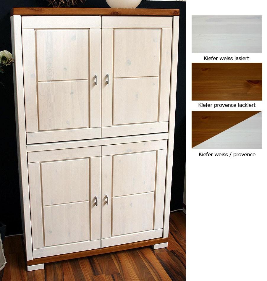 massivholz highboard wei oder honig esszimmerschrank kiefer. Black Bedroom Furniture Sets. Home Design Ideas