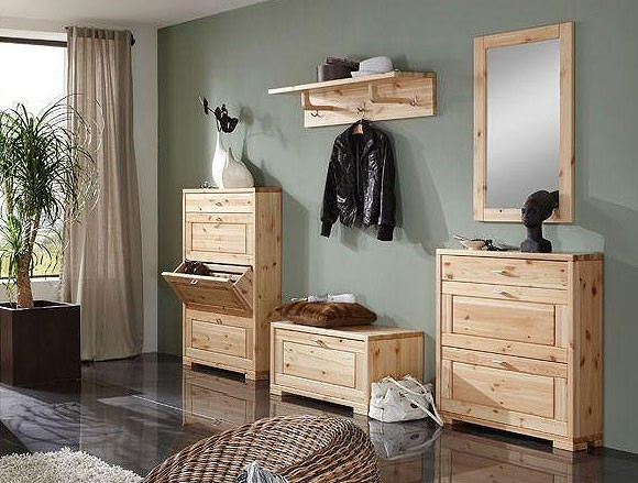 Garderobe holz massiv garderoben set 6teilig kernbuche for Garderoben set landhausstil