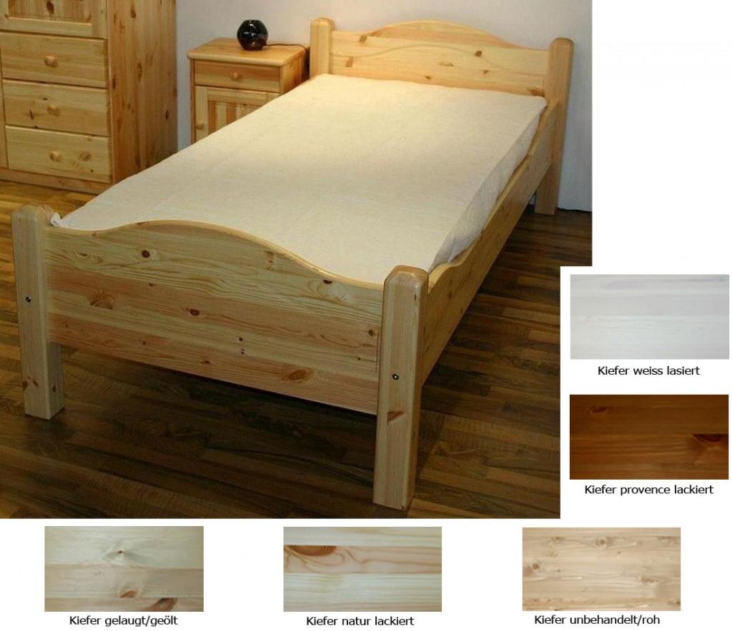 Massivholz Bett 120x220 Überlänge Jugendbett Kiefer hohes Fußteil