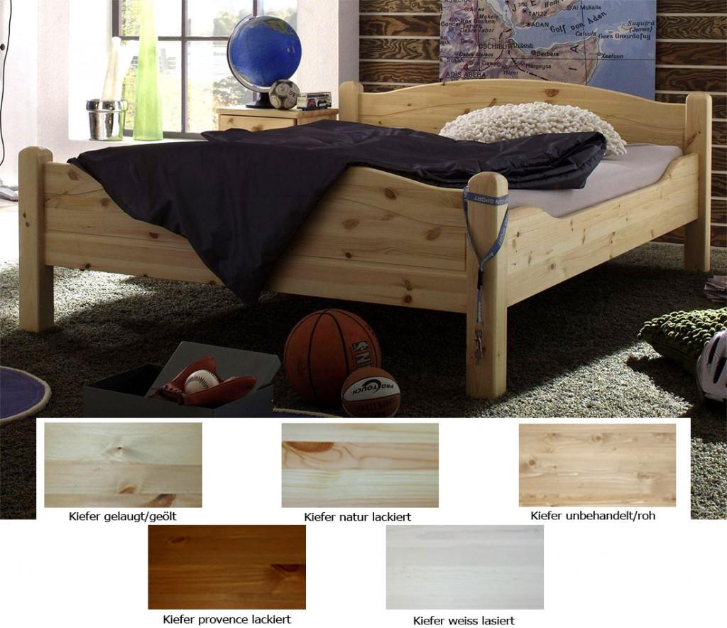 Massivholz Bett 160x220 Überlänge Doppelbett Kiefer hohes Fußteil