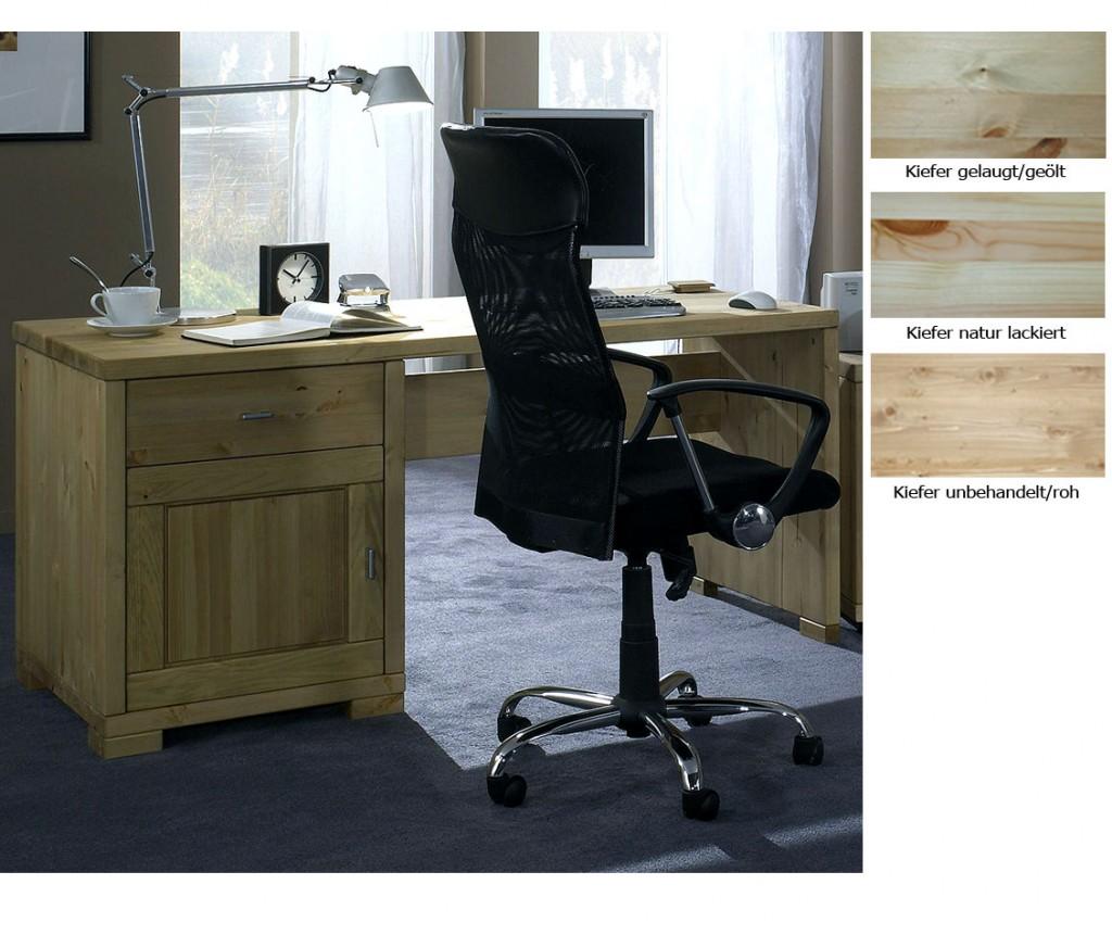 CASA Collection Massivholz Schreibtisch Computertisch gelaugt geölt PC-Tisch Kiefer