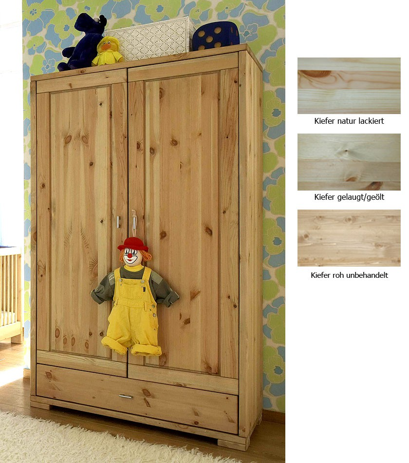massivholz kinderschrank 2t rig babyschrank kleiderschrank. Black Bedroom Furniture Sets. Home Design Ideas