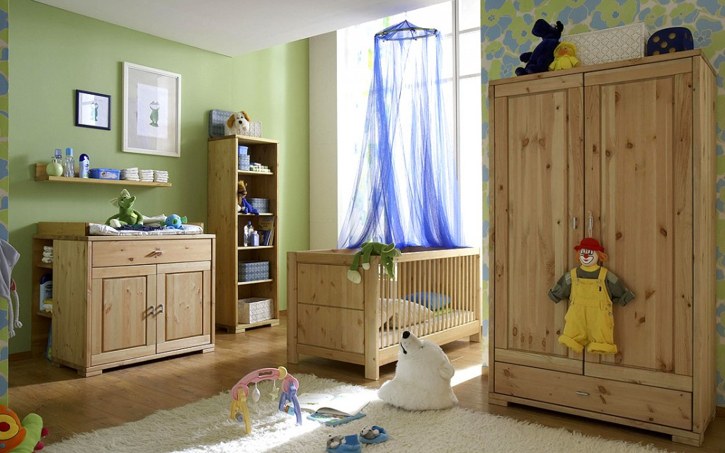 massivholz babyzimmer komplett 6teilig kinderzimmer kiefer gelaugt ge lt. Black Bedroom Furniture Sets. Home Design Ideas