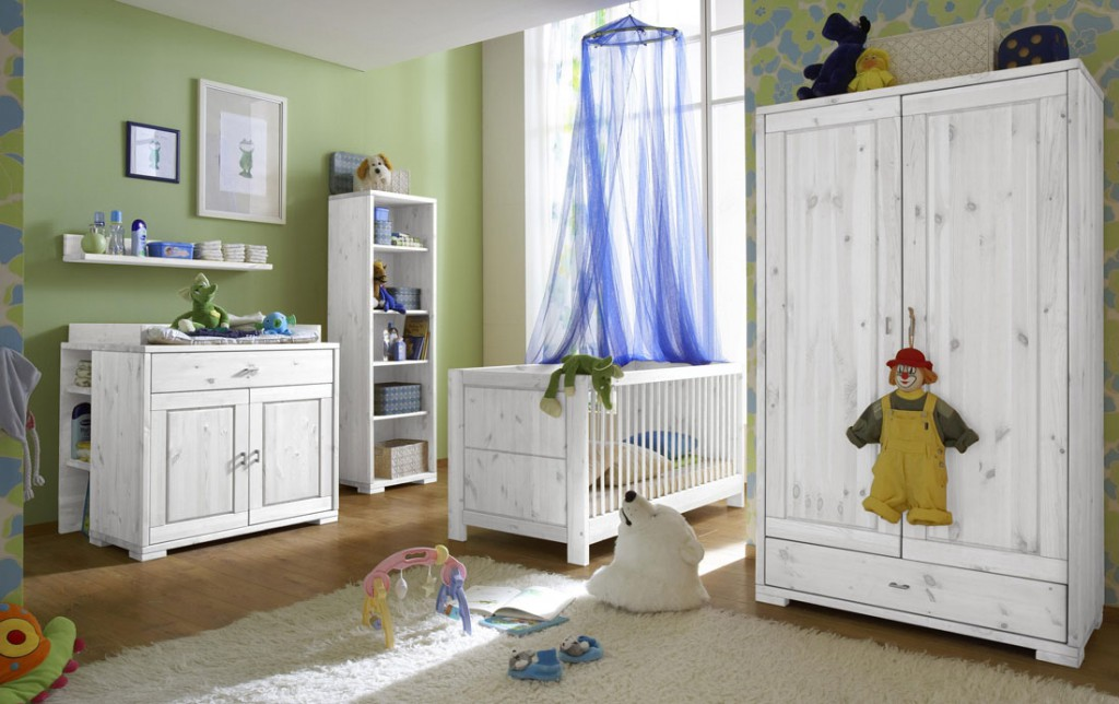 massivholz babyzimmer komplett 6teilig kinderzimmer kiefer wei lasiert. Black Bedroom Furniture Sets. Home Design Ideas