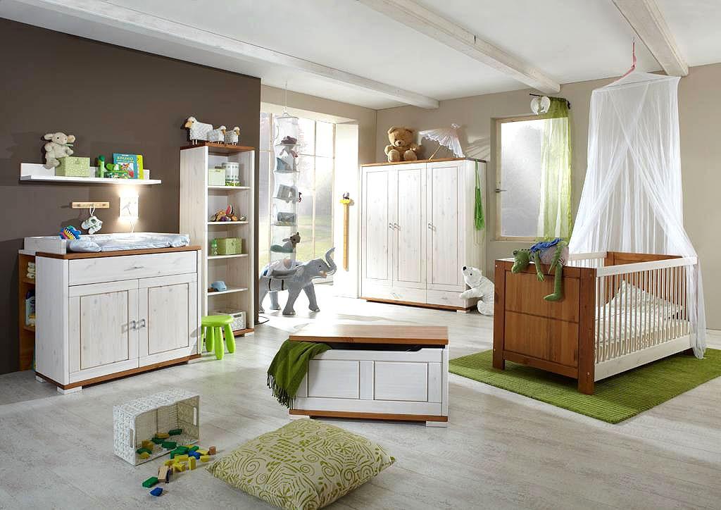 Babyzimmer-Set 7-teilig weiß honig Kinderzimmer Kiefer massiv Holz