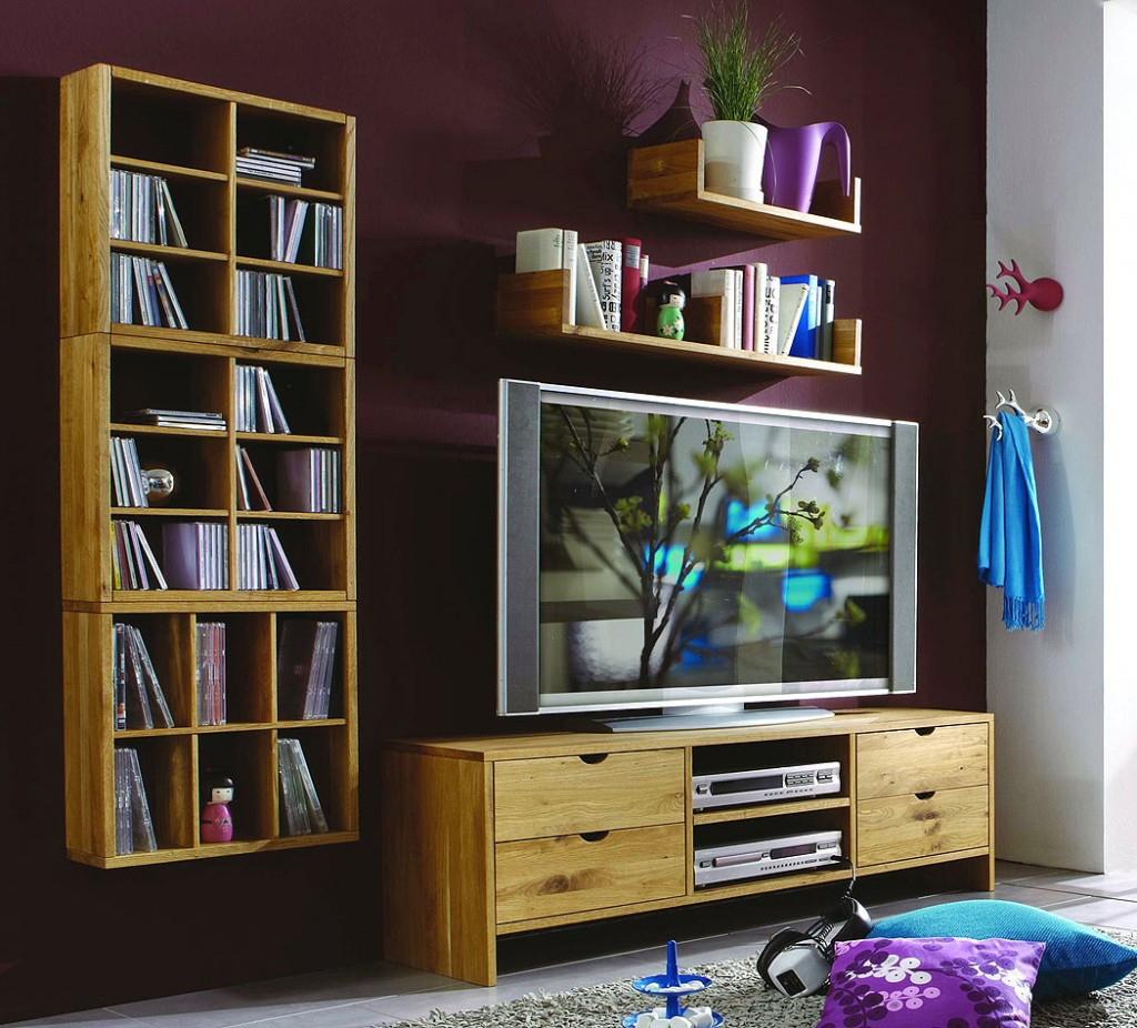 massivholz wohnwand tv m bel anbauwand wildeiche ge lt gewachst. Black Bedroom Furniture Sets. Home Design Ideas