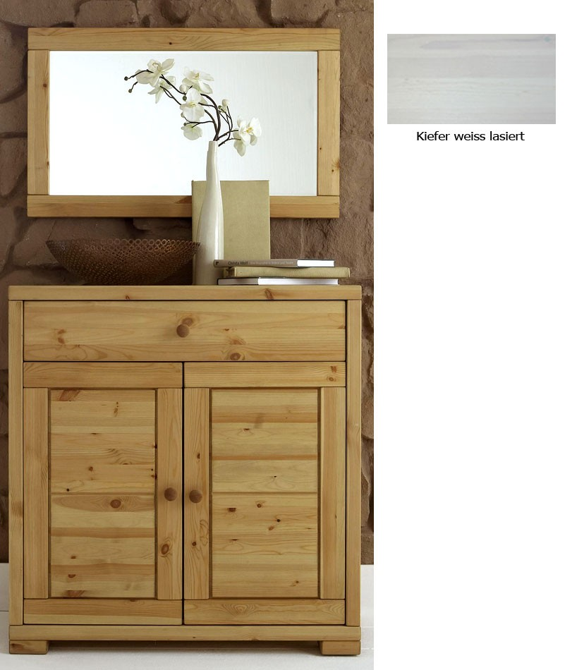massivholz kommode spiegel flurm bel dielenm bel set wei kiefer massiv. Black Bedroom Furniture Sets. Home Design Ideas