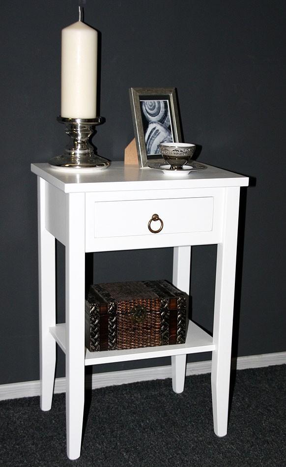 Nachttisch Beistelltisch Holz ~ Massivholz Nachttisch Nachtkonsole Beistelltisch  Holz massiv weiß