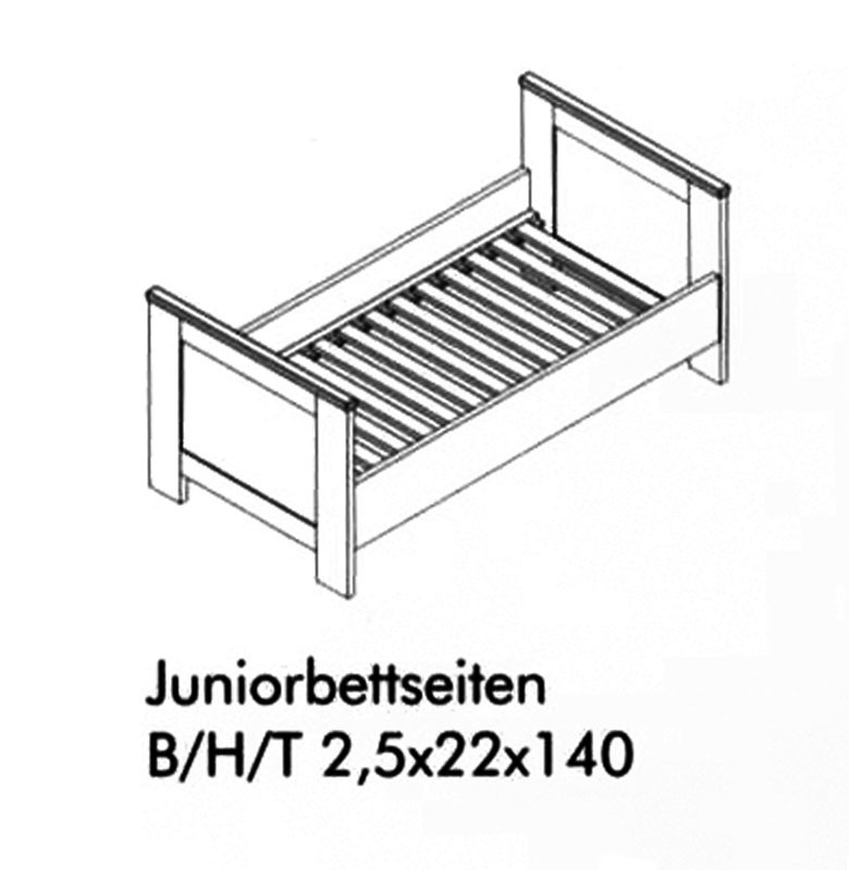 massivholz umbau bettseiten kinderbett juniorbett wei. Black Bedroom Furniture Sets. Home Design Ideas