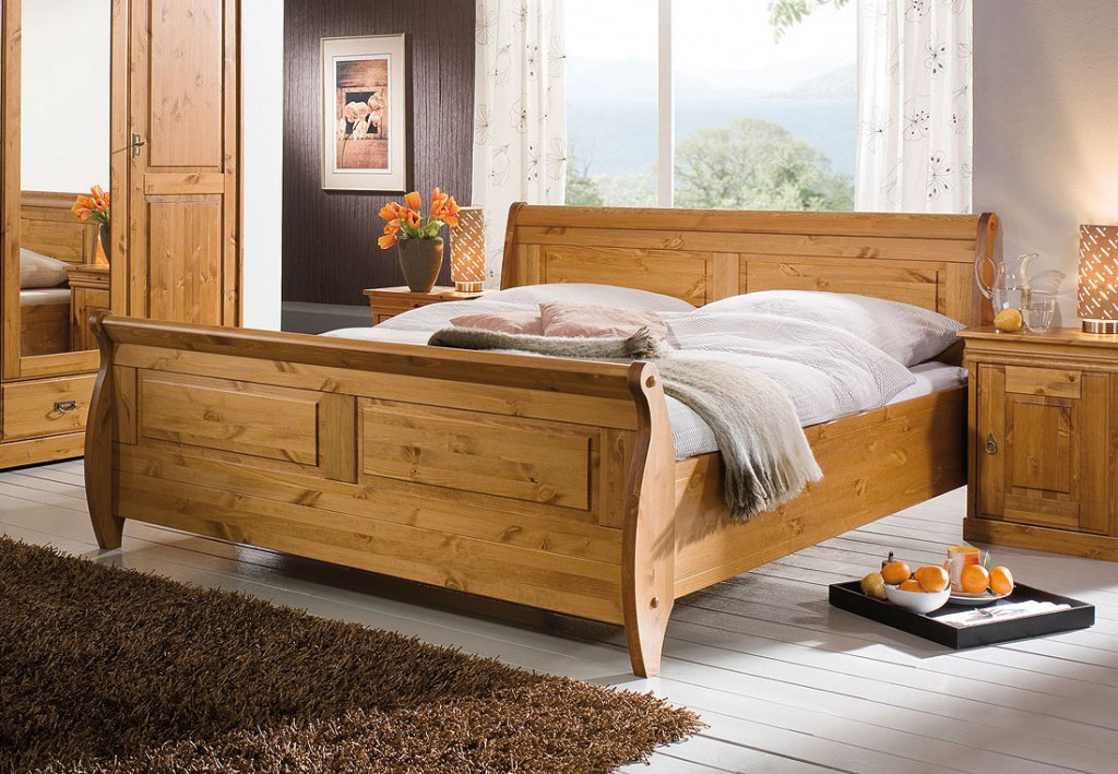 massivholz bett 180x200 holzbett doppelbett honig kiefer. Black Bedroom Furniture Sets. Home Design Ideas