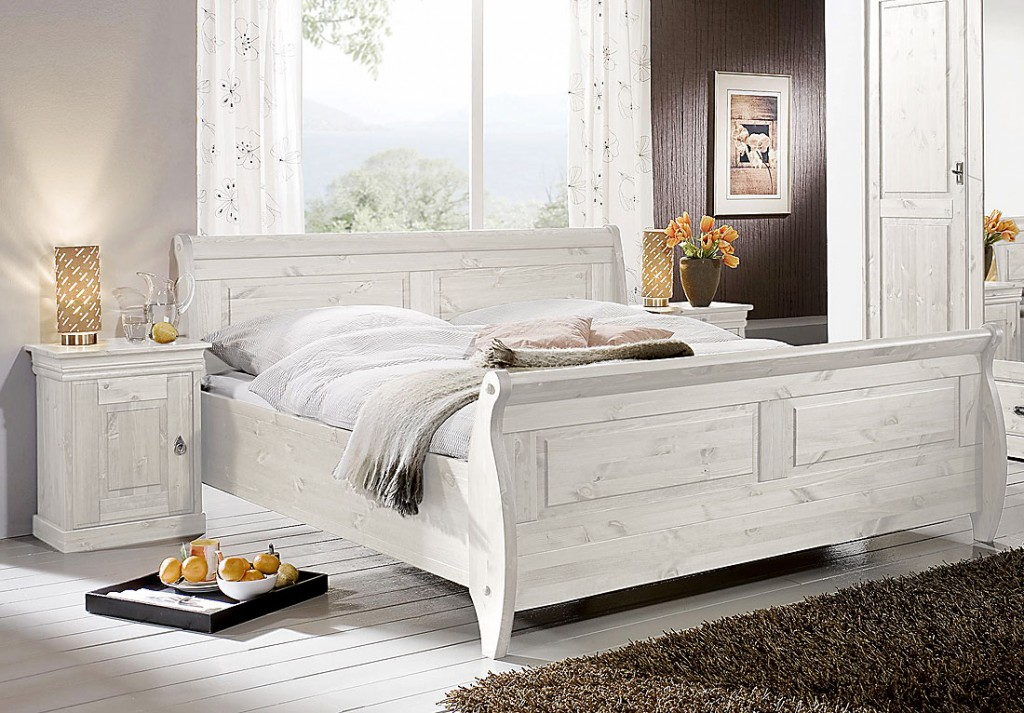 massivholz doppelbett bett holzbett nachtisch kiefer massiv holz wei. Black Bedroom Furniture Sets. Home Design Ideas
