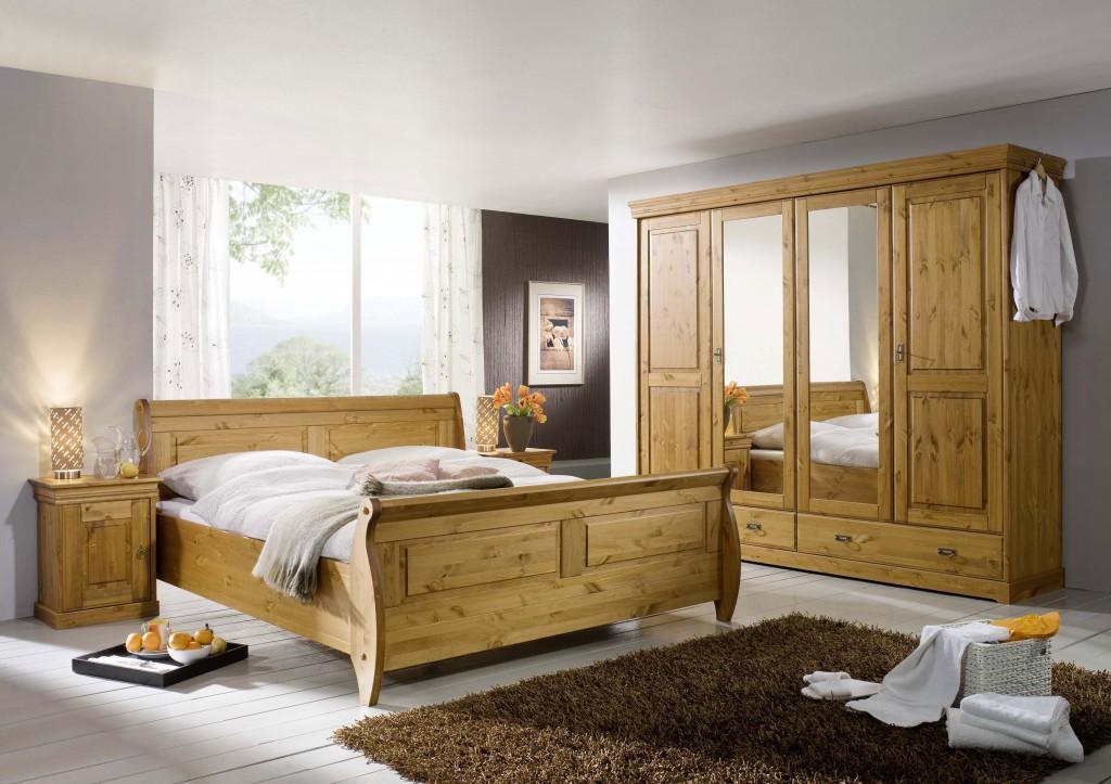 Massivholz Kleiderschrank 4türig Kiefer massiv Holz Schrank honig
