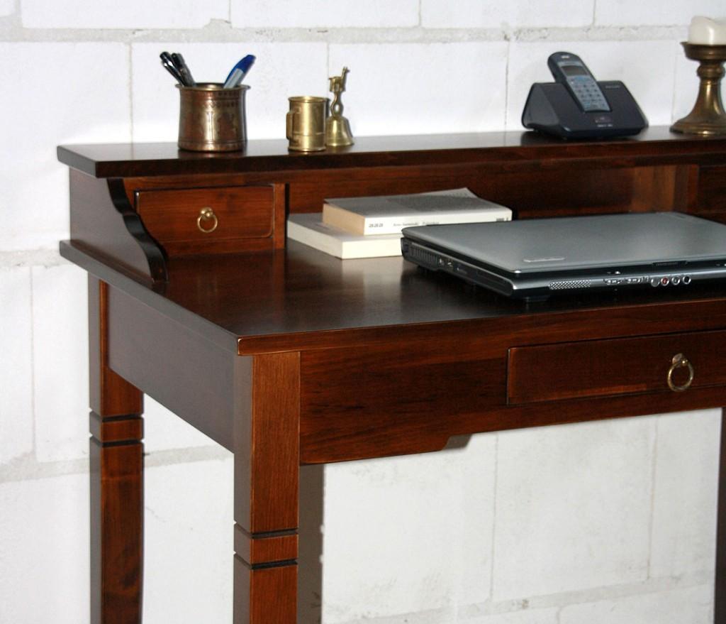 Schreibtisch nussbaumfarben Sekretär Holz massiv kolonial