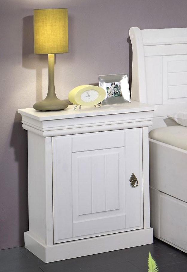 massivholz bett mit bettkasten und nachtischen kiefer massiv wei lackiert. Black Bedroom Furniture Sets. Home Design Ideas