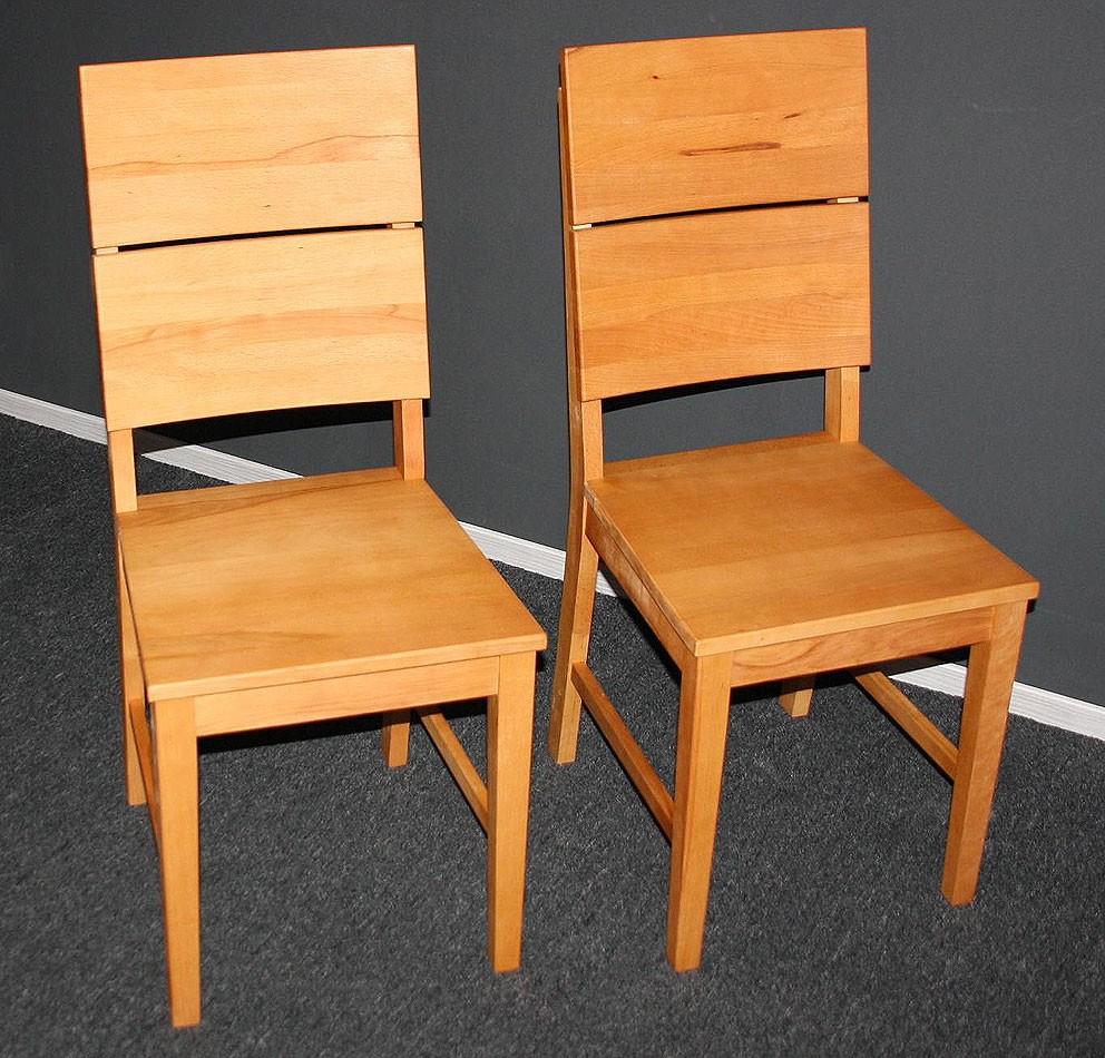 Massivholz Stuhl St Hle Holzstuhl Mit Holzsitz Kernbuche