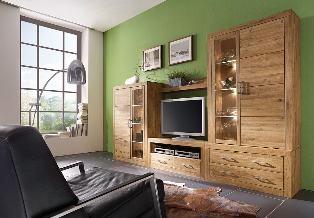 wohnwand wildeiche massiv ge lt. Black Bedroom Furniture Sets. Home Design Ideas