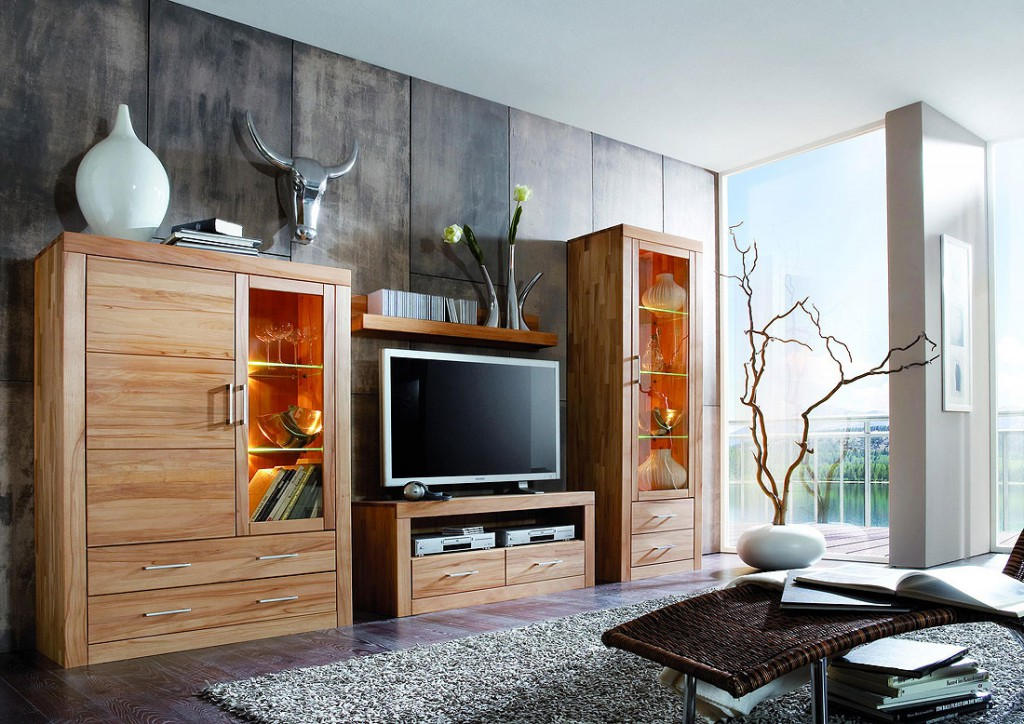 schrankwand massivholz. Black Bedroom Furniture Sets. Home Design Ideas