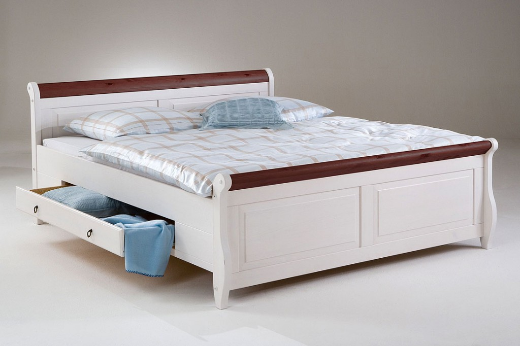 bett mit schubladen 180x200 wei kolonial holzbett kiefer. Black Bedroom Furniture Sets. Home Design Ideas