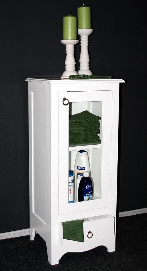 massivholz vitrine standvitrine badschrank holz massiv wei lackiert. Black Bedroom Furniture Sets. Home Design Ideas