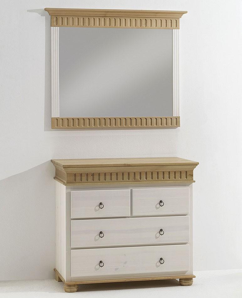 CASA Collection Massivholz Spiegel Dielenspiegel mit Kommode Kiefer massiv weiß antik