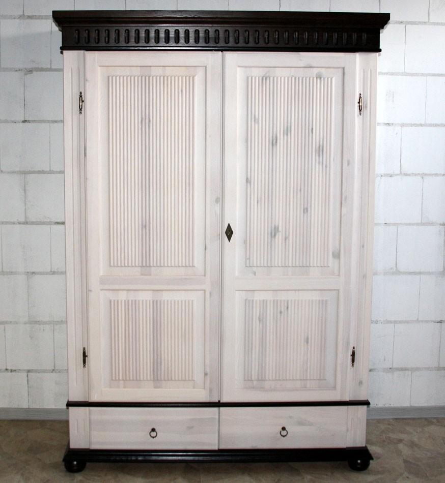 Kleiderschrank 2 t rig xl wei kolonial kiefer massiv poarta for Schrank kolonial