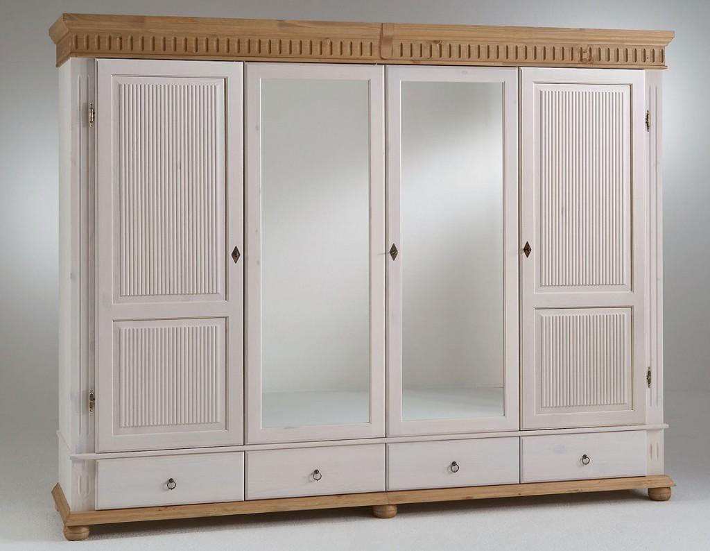 kleiderschrank 4 t rig xl wei antik mit spiegel kiefer. Black Bedroom Furniture Sets. Home Design Ideas
