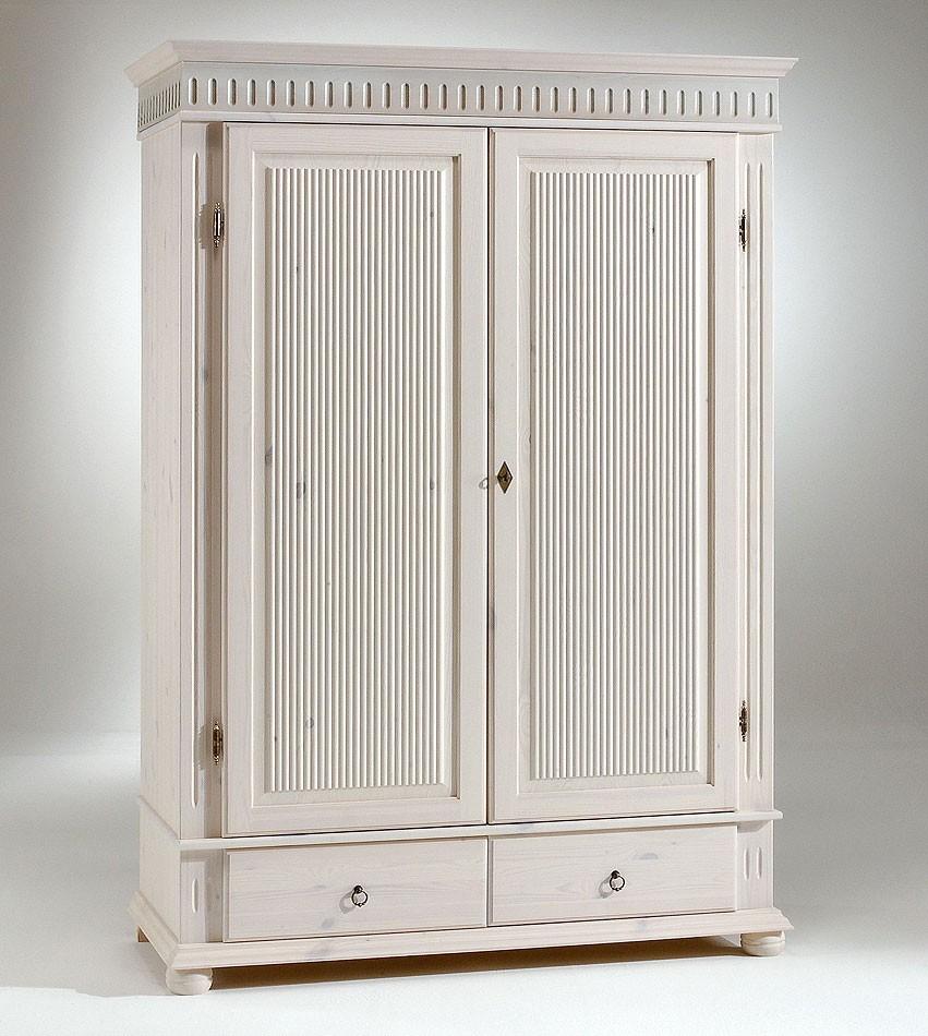 kleiderschrank 2 t rig wei kiefer massiv poarta. Black Bedroom Furniture Sets. Home Design Ideas