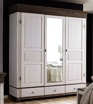 kleiderschrank xl 3 t rig dielenschrank mit spiegel kiefer wei kolonial. Black Bedroom Furniture Sets. Home Design Ideas