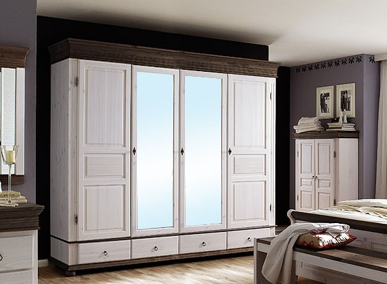 kleiderschrank 4 t rig wei kolonial schlafzimmerschrank. Black Bedroom Furniture Sets. Home Design Ideas